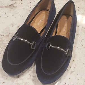 NWOB Lane Bryant Blue Velvet Loafers sz 11W